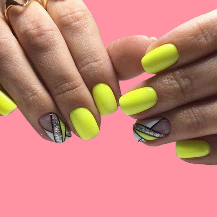 12 Yellow Geometric Nail Design Will Shine Your Summer Trend